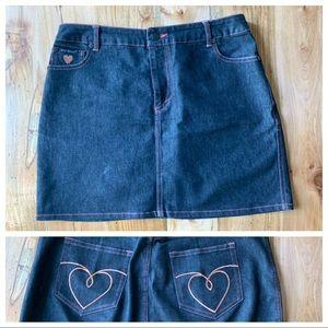 EUC Betsy Johnson Dark Denim Mini Skirt